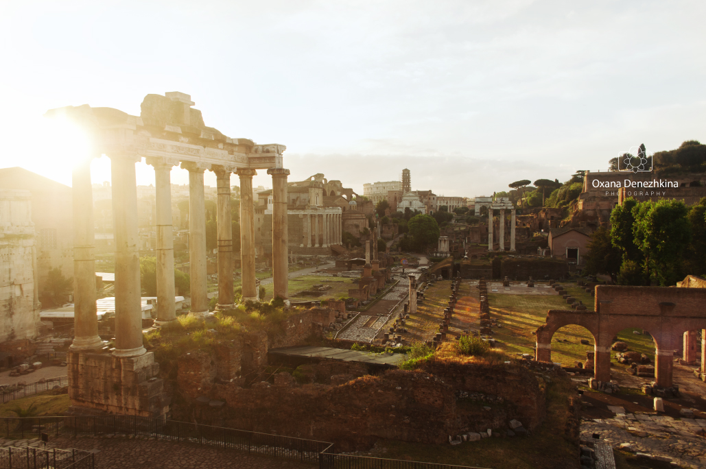 Sunny view of Foro Romano, selective focus