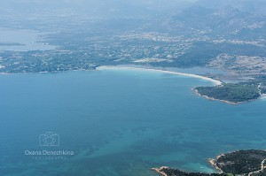View of coast of San Teodoro, Sardinia, selective focus